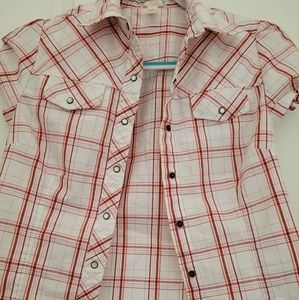 Vixen short sleeve plaid shirt (M).